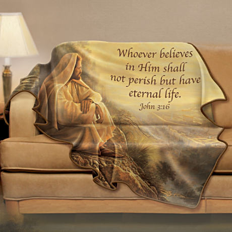 Greg Olsen Inspirational Art Fleece Blanket With Bible Verse