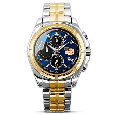"""Spirit Of America"" Stainless Steel Chronograph Watch"