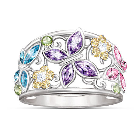 """Spring Radiance"" Butterfly And Flower Cubic Zirconia Ring"