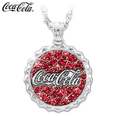 Coca-Cola Crystal Bottle Cap Pendant Necklace With Engraving