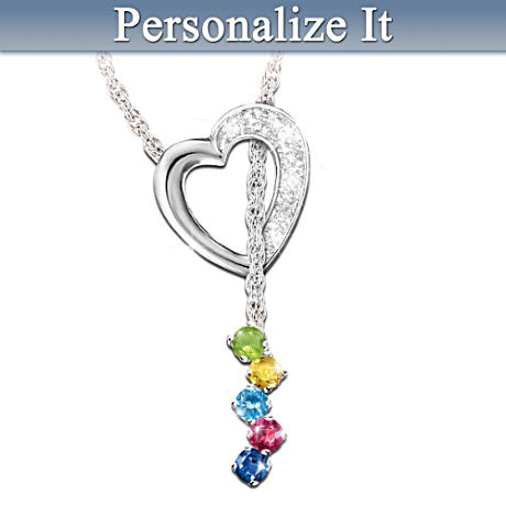 Personalized Mom's Heart Necklace With Up To 8 Birthstones