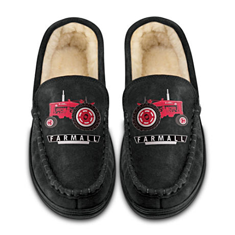 Farmall Suede Men's Moccasins With Tractor Artwork