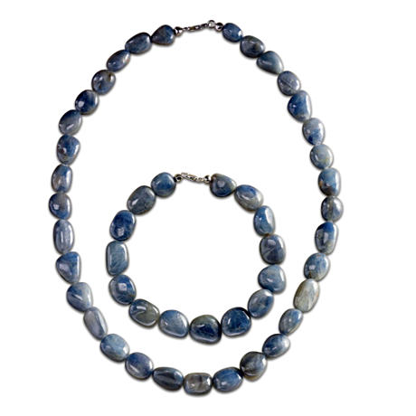 """Natural Beauty"" Genuine Sapphire Necklace And Bracelet Set"