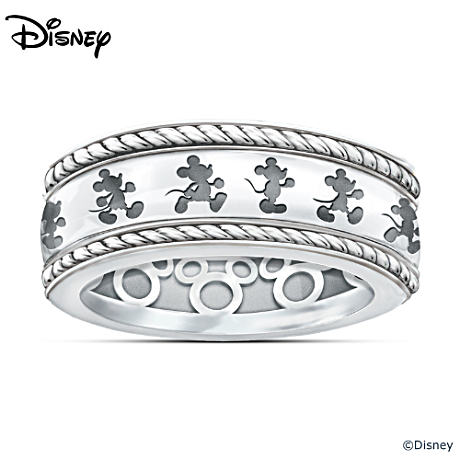 Mickey Mouse Ring With Engraved Spinning Band