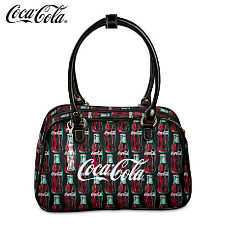 Coca-Cola Handbag With Leather Trim And Coke Bottle Key Fob