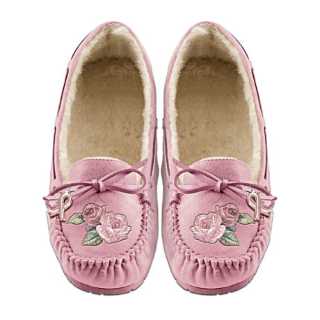 Breast Cancer Awareness Embroidered Pink Suede Moccasins