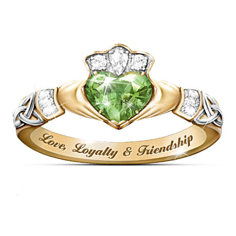 Color-Changing Irish Claddagh Ring With Cubic Zirconia Heart