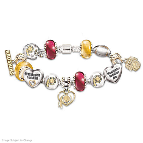 Washington Redskins Charm Bracelet With Swarovski Crystals