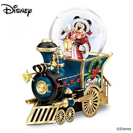 Disney Mickey Mouse Christmas Musical Locomotive Snowglobe