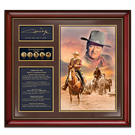 Commemorative John Wayne Print With Zinc Alloy Medallions