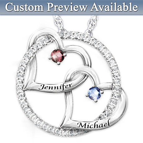 Personalized Birthstone Pendant With Interlocking Hearts