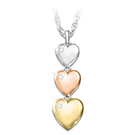 Three-Heart Pendant With Diamonds And Sentiment Card