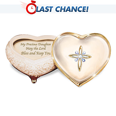 Heart-Shaped Porcelain Music Box With 22K Gold For Daughter