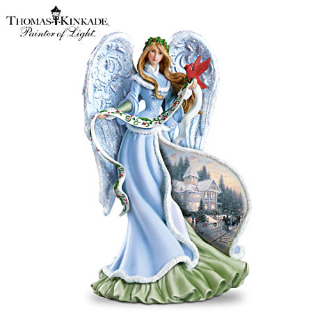 "Thomas Kinkade ""Holly Angel"" Illuminating Angel Figurine"
