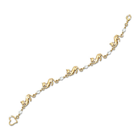 Cat Lover Bracelet With Gold Plating And Swarovski Crystals