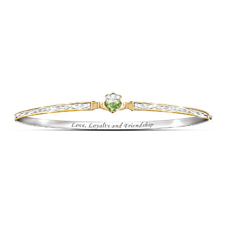 Claddagh Bracelet With Peridot, Crystals And Celtic Knots