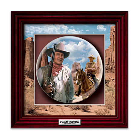 John Wayne Collector Plate Tribute In Framed Shadowbox