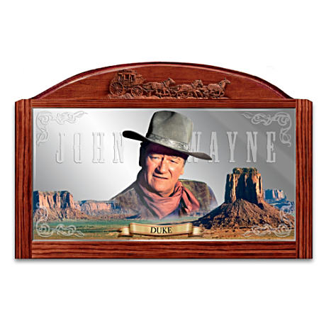John Wayne Saloon Mirror With Portrait And Wooden Frame