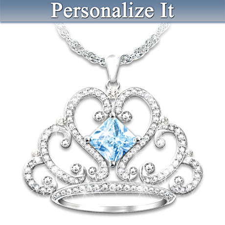 Tiara Pendant Necklace For Daughters With Crystal Birthstone