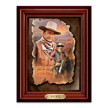 John Wayne Framed Leather Print Wall Decor