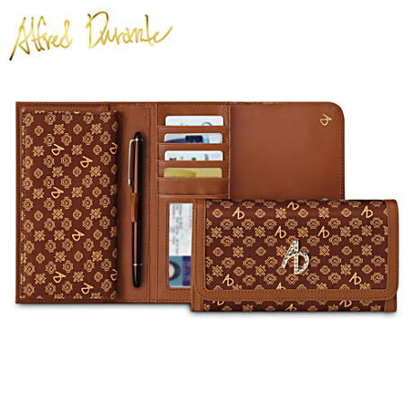 "Alfred Durante Women's Wallet With Metallic Jeweled ""AD"""