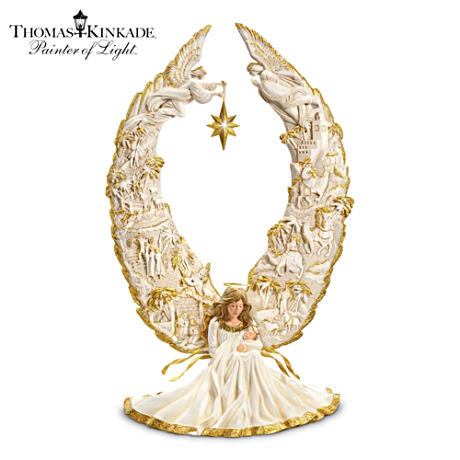 Angel Nativity Sculpture With Thomas Kinkade Narration