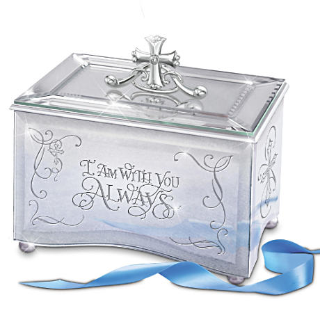 Etched Mirrored Christian Music Box With Original Poetry