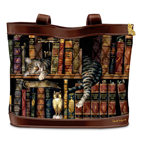 Charles Wysocki Cat Art Tote Bag: Frederick The Literate