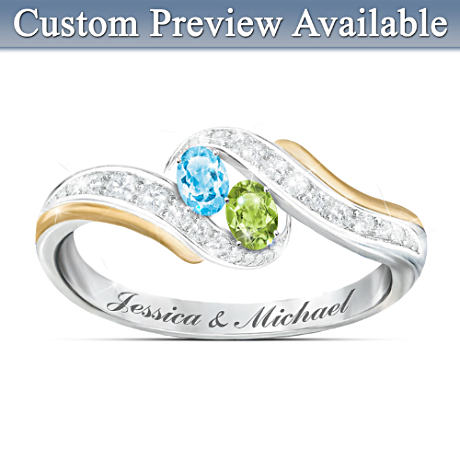 Couples Ring Personalized With 2 Names & Crystal Birthstones