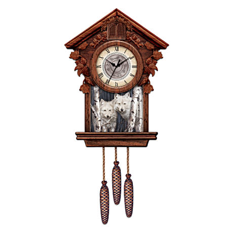 Wolf Art Cuckoo Clock Graced With The Art Of Rusty Frentner