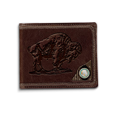 Buffalo Leather Wallet With Replica Indian Head Nickel