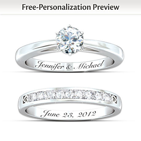 "Personalized ""Our Forever Love"" Diamond Bridal Ring Set"