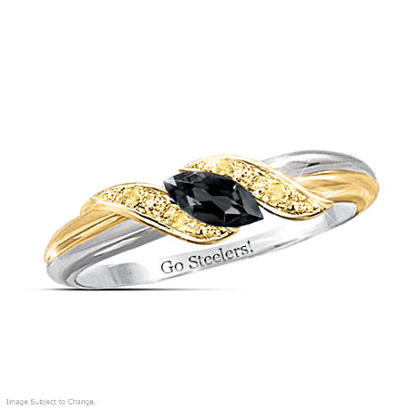 Pittsburgh Steelers Black Sapphire Engraved Ring