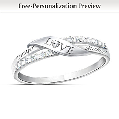 Romantic Personalized 7-Diamond Engraved Ring