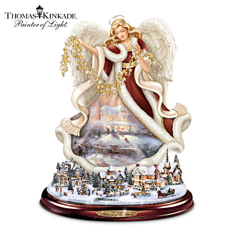 Thomas Kinkade Angel Sculpture Rotates Around Lit Village