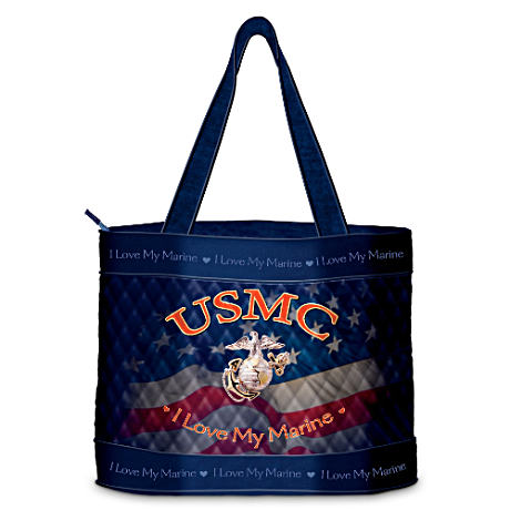 """I Love My Marine"" Quilted Tote Bag And Free Cosmetic Case"