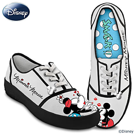 Vintage-Style Kissin' Mickey & Minnie Signature Art Sneakers