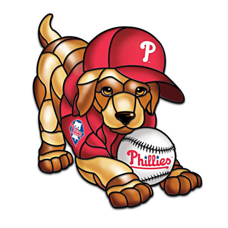 Philadelphia Phillies Stained Glass-Style Puppy Sculpture