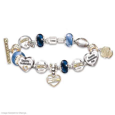 Seattle Seahawks Charm Bracelet  With Swarovski Crystals