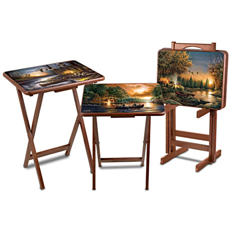 Set Of 4 Woodland Art Tray Tables By Terry Redlin