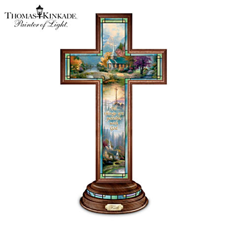 Thomas Kinkade Stained Glass-Style Illuminated Faith Cross