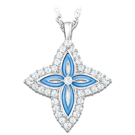 Precious Faith White Topaz Cross Pendant