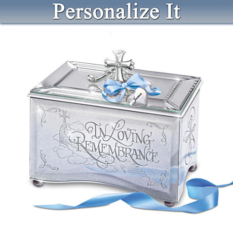 Personalized Remembrance Mirrored Music Box With Poem Card