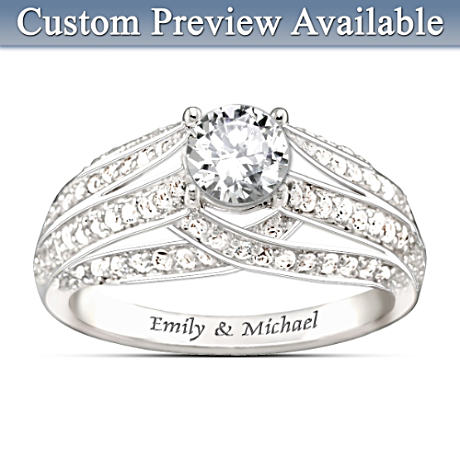 """Always Loving You"" Name-Engraved White Topaz Ring"