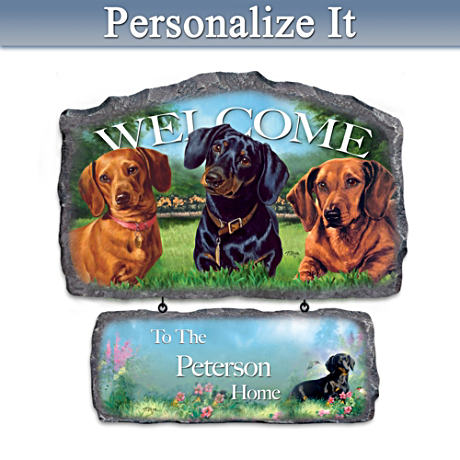 Linda Picken Dachshund Art Personalized Welcome Sign