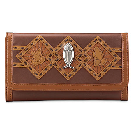 Inspirational Women's Wallet With Embossed Religious Symbols