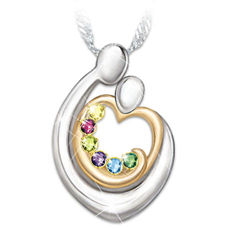 Personalized Family Pendant With Birthstones And Engravings