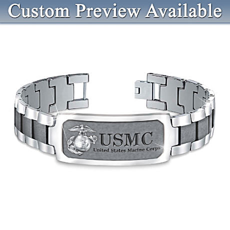 USMC Stainless Steel Personalized Men's ID Bracelet