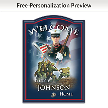 USMC Wooden Welcome Sign Personalized With Name