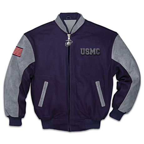 """Proud To Be A Marine"" Wool Men's Jacket With Printed Lining"